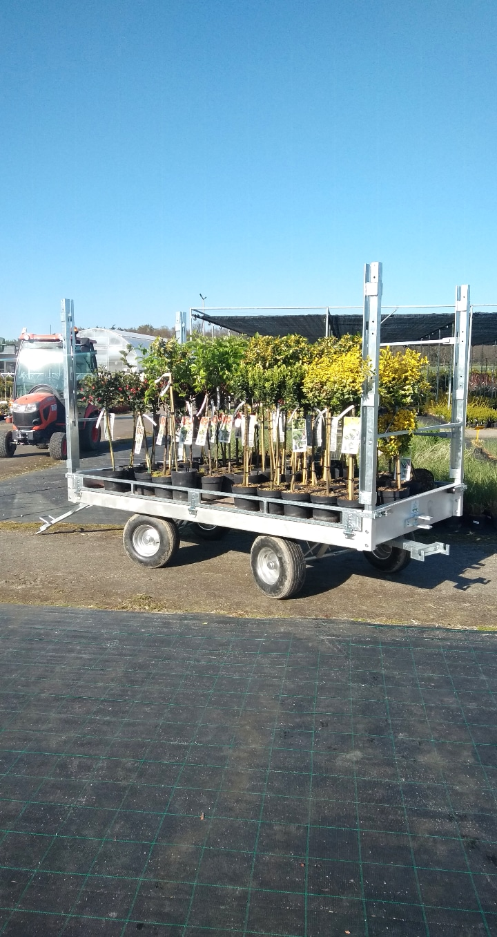 Trolley with posts and crossbars for transporting tall plants